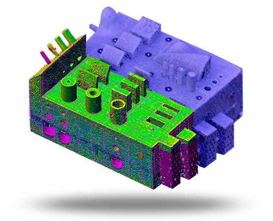 Vergleich der geometrischen Abmessungen einer additiv-generativ gefertigten Zugprobe mit zugehörigen CAD-Daten (C) TU Dresden, Dr. Axel Marquardt